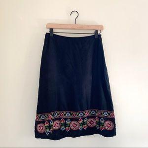 Ann Taylor Silk Floral Embroidered Hem Midi Skirt